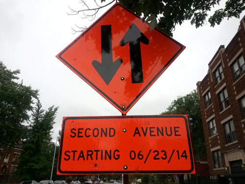 Like the sign says, Second is going through some ups and downs.